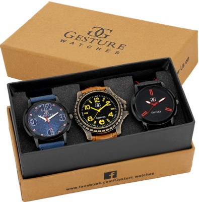Gesture Attractive Arrogant Combo of 3 Stylish Creative Analog Watch  - For Men