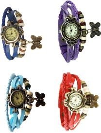 Omen Vintage Rakhi Combo of 4 Blue, Sky Blue, Purple And Red Analog Watch - For Women