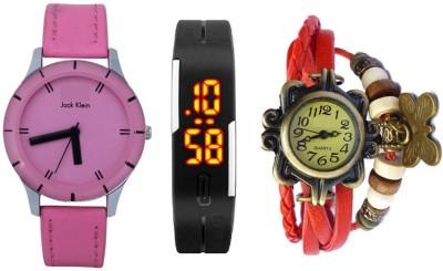 Jack Klein J1124_Vintage_RD_Led_BLK Analog-Digital Watch  - For Couple