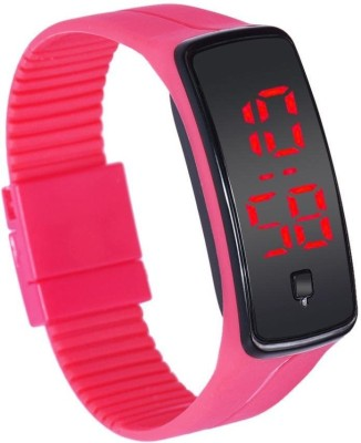 Pappi Boss Unisex Cute Pink Band Trendy Jelly Slim Silicone Button Led Digital Watch    For Boys, Men, Girls, Women available at Flipkart for Rs.299
