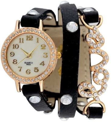 KMS Yilisha_LoveBelt_Black_Diamond Analog Watch  - For Women, Girls