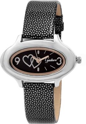 Gesture Gesture 8016-Black Oval Printed Strap Watch Printed Strap Analog Watch  - For Women