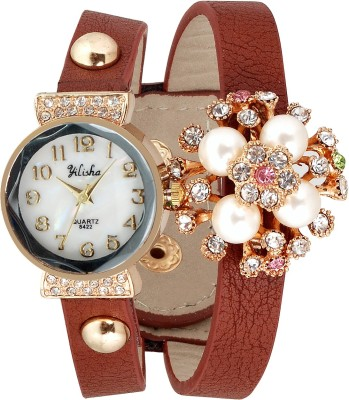 Yilisha Glittery Crystal White Brown Modest Analog Watch  - For Women