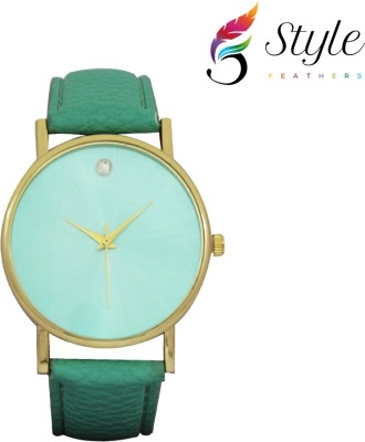 Style Feathers SINGLE DIAMOND GREEN 001 Sweep Second Analog Watch  - For Women, Girls, Men, Boys, Couple