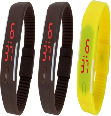 Twok Combo of Led Band Brown + Brown + Yellow Digital Watch - For Boys, Couple, Girls, Men, Women