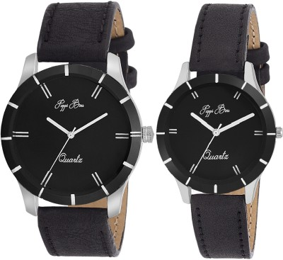 Pappi Boss Premier Combo of 2 Simple & Sober Z-Black Leather Classic Analog Watch  - For Couple, Boys, Men, Girls, Women