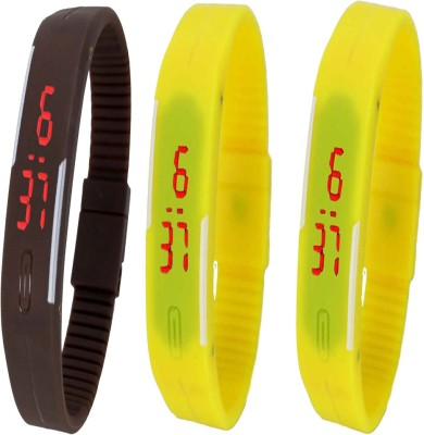 Twok Combo of Led Band Brown + Yellow + Yellow Digital Watch - For Boys, Couple, Girls, Men, Women