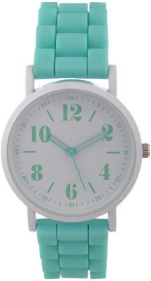 Zillion Trendy White Case Mint Green Silicone Strap Analog Watch  - For Women, Girls