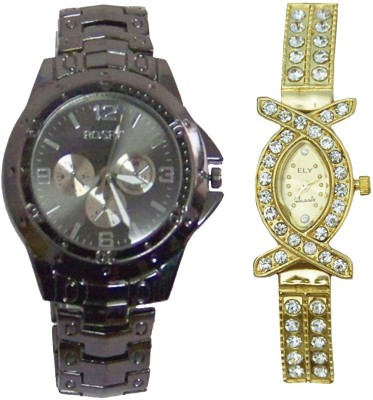ELY Ror_Blk_lad_Gold_own No Analog Watch  - For Men, Women
