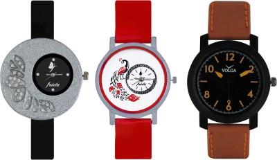 Frida Designer VOLGA Beautiful New Branded Type Watches Men and Women Combo344 VOLGA Band Analog Watch  - For Couple
