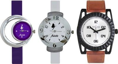 VOLGA Designer FVOLGA Beautiful New Branded Type Watches Men and Women Combo181 VOLGA Band Analog Watch  - For Couple