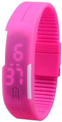 Pappi Boss Unisex Sporty Rubber Magnet Cute Pink Silicone Jelly Slim Sports Led Band Smart Digital Watch  - For Boys, Men, Girls, Women