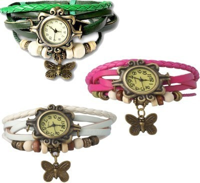 Lexin FS4686 Leather Strap, Vintage Watch Analog Watch  - For Girls, Women