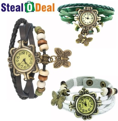 Stealodeal Set of Vintage Style Butterfly Analog Watch  - For Boys, Couple, Girls, Men, Women