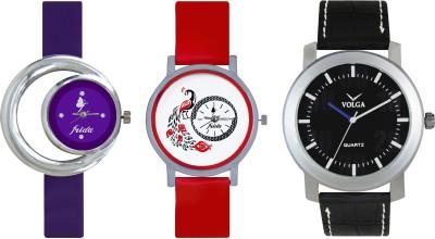 VOLGA Designer FVOLGA Beautiful New Branded Type Watches Men and Women Combo175 VOLGA Band Analog Watch  - For Couple