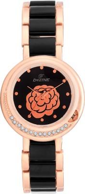 Dezine Black Dial Flower-LR032-BLK Analog Watch  - For Women