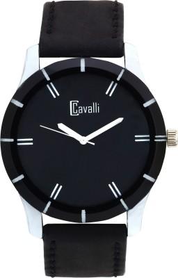 Cavalli CW091 Trendy Black Leather Analog Watch  - For Men, Boys