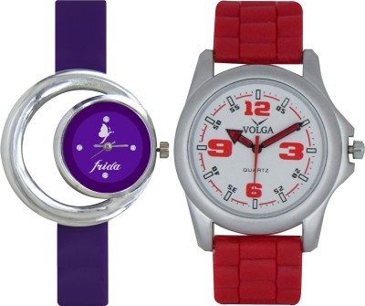 Frida Designer VOLGA Beautiful New Branded Type Watches Men and Women Combo114 VOLGA Band Analog Watch  - For Couple