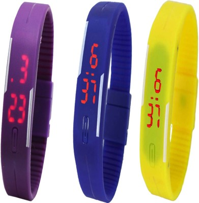 Twok Combo of Led Band Purple + Blue + Yellow Digital Watch - For Boys, Couple, Girls, Men, Women
