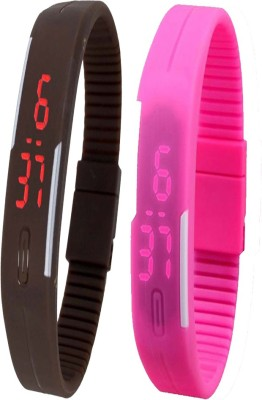 Twok Combo of Led Band Brown + Pink Digital Watch - For Men & Women