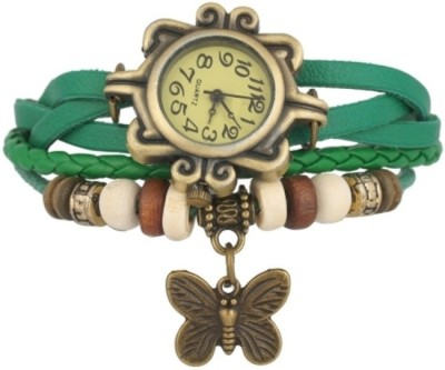 Edge Vintage Bracelet With Butterfly Charm Analog Watch  - For Women, Girls
