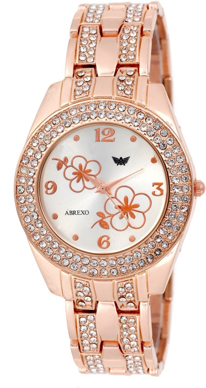 Abrexo Abx4020 RG RG Crystal Studded Analog Watch For Women