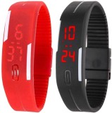 intricate Led Band Watch Combo of 2 Red ...