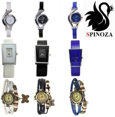 SPINOZA glory and vintage white black blue most trendy watches set of 9 Analog Watch  - For Women