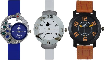 Frida Designer VOLGA Beautiful New Branded Type Watches Men and Women Combo532 VOLGA Band Analog Watch  - For Couple