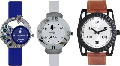 VOLGA Designer FVOLGA Beautiful New Branded Type Watches Men and Women Combo141 VOLGA Band Analog Watch  - For Couple