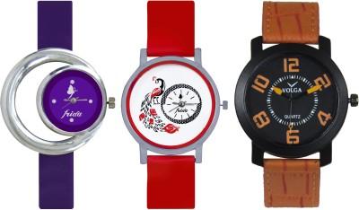 Frida Designer VOLGA Beautiful New Branded Type Watches Men and Women Combo680 VOLGA Band Analog Watch  - For Couple