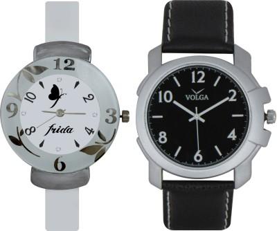 Frida Designer VOLGA Beautiful New Branded Type Watches Men and Women Combo214 VOLGA Band Analog Watch  - For Couple