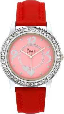 Cavalli CW109 Crystal Studded Designer Pink Red Leather Analog Watch  - For Women, Girls