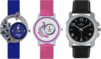 Frida Designer VOLGA Beautiful New Branded Type Watches Men and Women Combo436 VOLGA Band Analog Watch  - For Couple