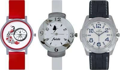 Frida Designer VOLGA Beautiful New Branded Type Watches Men and Women Combo758 VOLGA Band Analog Watch  - For Couple