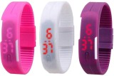 intricate Led Band Watch Combo of 3 Pink...