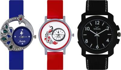 Frida Designer VOLGA Beautiful New Branded Type Watches Men and Women Combo489 VOLGA Band Analog Watch  - For Couple