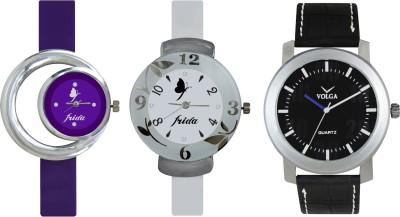 VOLGA Designer FVOLGA Beautiful New Branded Type Watches Men and Women Combo183 VOLGA Band Analog Watch  - For Couple