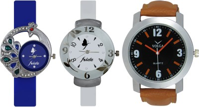 Frida Designer VOLGA Beautiful New Branded Type Watches Men and Women Combo540 VOLGA Band Analog Watch  - For Couple