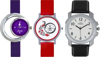 Frida Designer VOLGA Beautiful New Branded Type Watches Men and Women Combo672 VOLGA Band Analog Watch  - For Couple