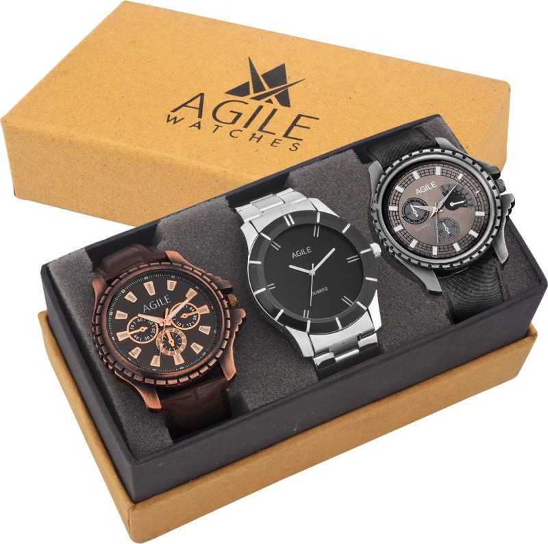 Agile AGC021 Agile Attractive Combo of 3 Analog Watch For Men