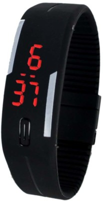 FabSale Led Magnet Rubber Wrist Band Black Colour Digital Watch  - For Boys, Men, Girls, Women
