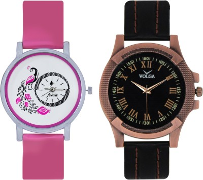 Frida Designer VOLGA Beautiful New Branded Type Watches Men and Women Combo91 VOLGA Band Analog Watch  - For Couple