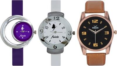Frida Designer VOLGA Beautiful New Branded Type Watches Men and Women Combo719 VOLGA Band Analog Watch  - For Couple