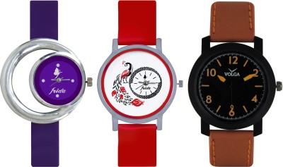 Frida Designer VOLGA Beautiful New Branded Type Watches Men and Women Combo679 VOLGA Band Analog Watch  - For Couple