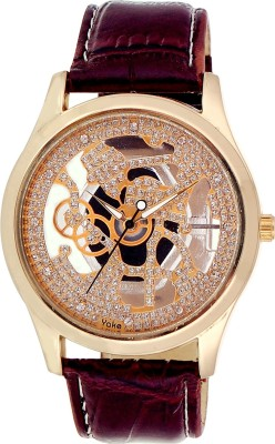 Cavalli CW072-Cavalli Skeleton Maroon Leather Strap Watch Analog Watch  - For Men, Boys