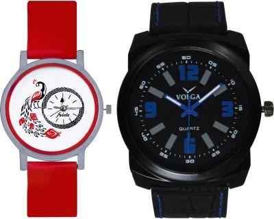 Frida Designer VOLGA Beautiful New Branded Type Watches Men and Women Combo174 VOLGA Band Analog Watch  - For Couple