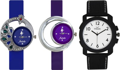 Frida Designer VOLGA Beautiful New Branded Type Watches Men and Women Combo451 VOLGA Band Analog Watch  - For Couple