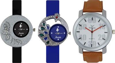 Frida Designer VOLGA Beautiful New Branded Type Watches Men and Women Combo243 VOLGA Band Analog Watch  - For Couple