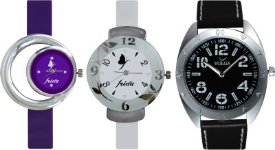 Frida Designer VOLGA Beautiful New Branded Type Watches Men and Women Combo728 VOLGA Band Analog Watch  - For Couple